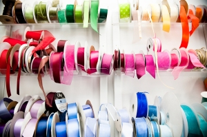 Overflowing ribbon rack. Laurel McConnell Photography